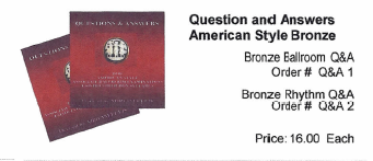 Questions and Answers - American Style Bronze Ballroom & Rhythm - Q&A 1 and 2