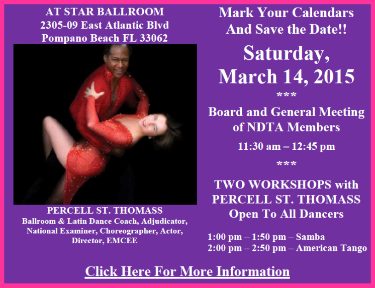 Board & Members Meeting with Two Workshops by Percell St. Thomass – Saturday, March 14, 2015