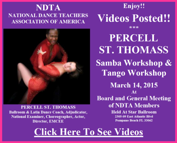 Videos Posted - Percell St. Thomass Samba & Tango Workshops - March 14, 2015