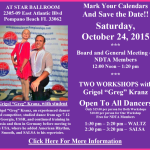 Board Meeting & Meeting of NDTA Members with TWO WORKSHOPS BY GRIGOL 'GREG' KRANZ – Saturday, October 24, 2015