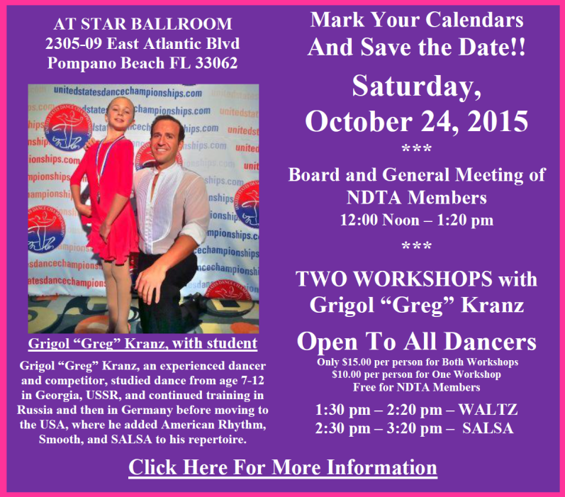 Board & Members Meeting with Two Workshops by Grigol 'Greg' Kranz – Saturday, October 24, 2015