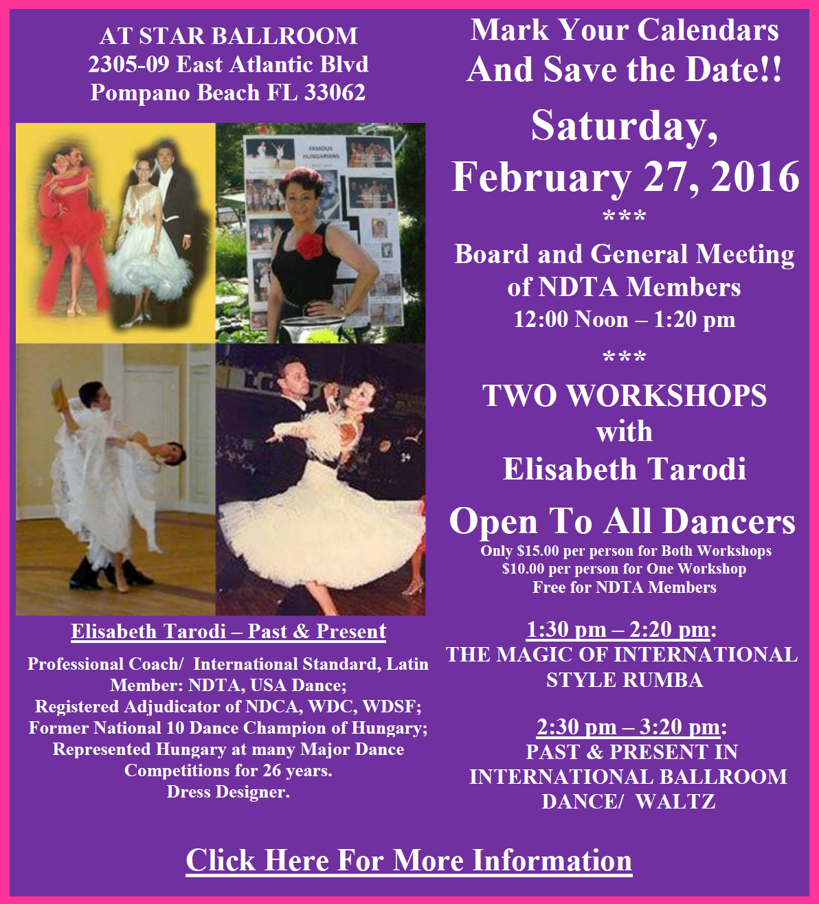 Elisabeth Tarodi Workshops - February 27, 2016