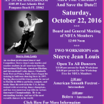 Meeting of NDTA Board & Members with TWO WORKSHOPS BY STEEVE JEAN LOUIS – Saturday, October 22, 2016