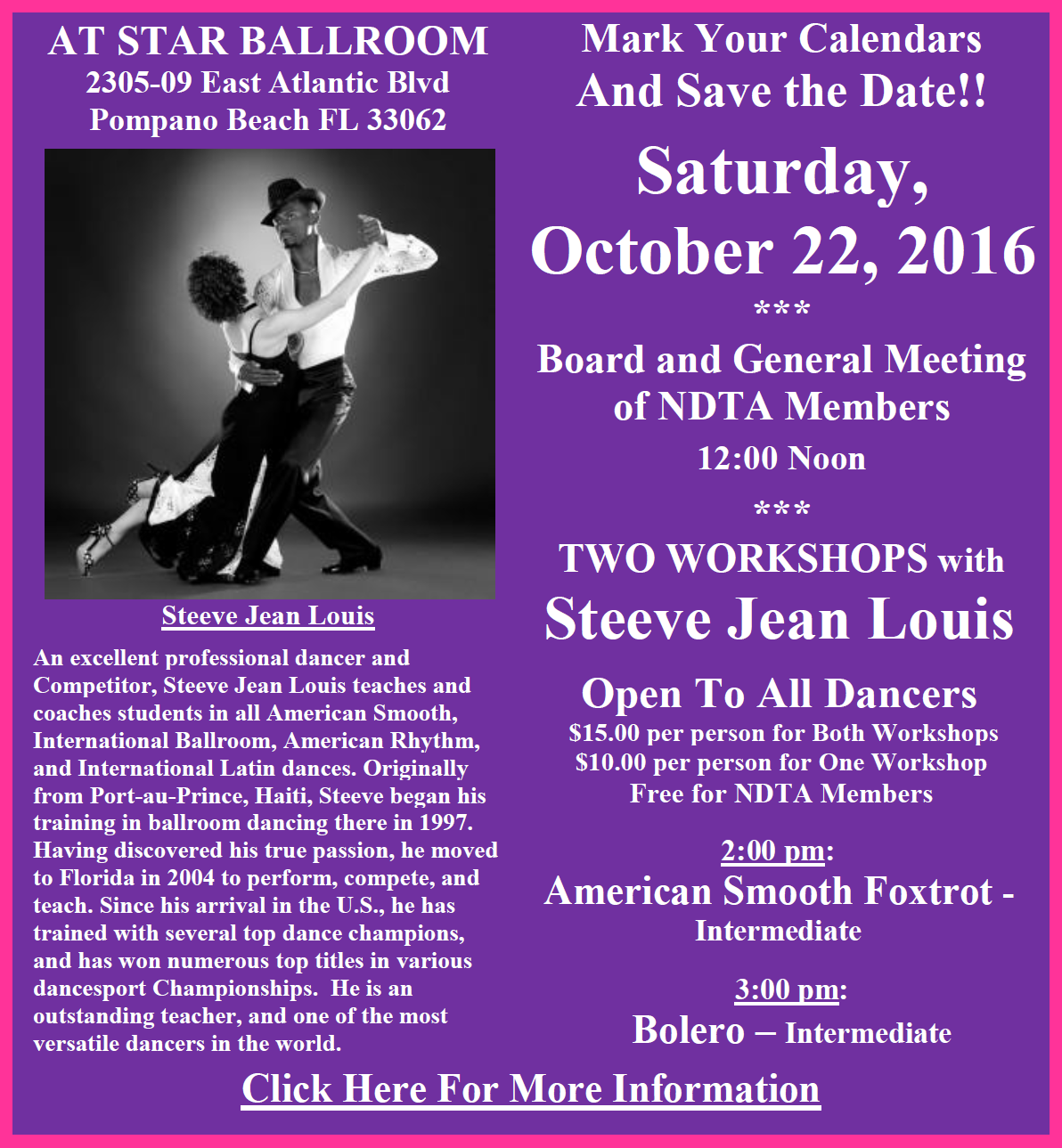 October 22, 2016 - NDTA Meeting & Two Workshops by Steeve Jean Louis