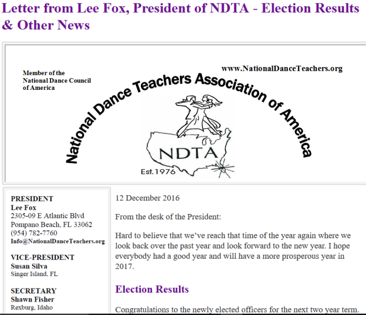 Letter from Lee Fox, President of NDTA - Election Results & Other News