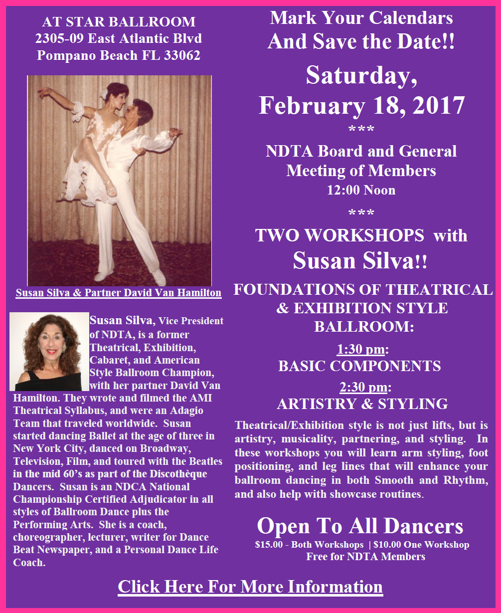 February 18, 2017 - NDTA Meeting & Two Workshops by Susan Silva