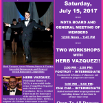 Meeting of NDTA Board & Members with TWO WORKSHOPS BY HERB VAZQUEZ – Saturday, July 15, 2017