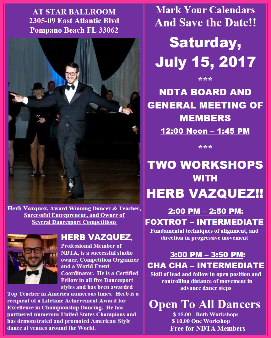 July 15, 2017 NDTA Meeting with Two Workshops by Herb Vazquez!
