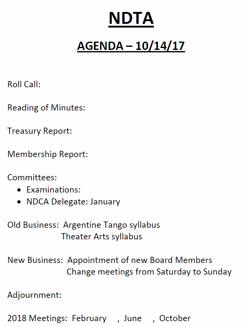 Agenda - October 14, 2017 Board & Members Meeting