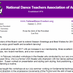 Letter from Lee Fox, President of NDTA – January 2, 2018
