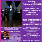 Meeting of NDTA Board & Members with TWO WORKSHOPS BY HERB VAZQUEZ – Sunday, February 25, 2018