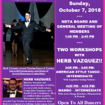 Meeting of NDTA Board & Members with TWO WORKSHOPS BY HERB VAZQUEZ – Sunday, October 7, 2018