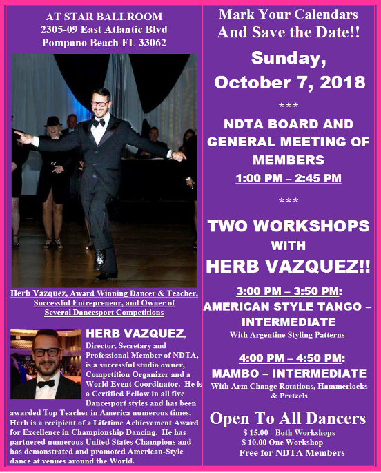 Meeting of NDTA Board & Members with TWO WORKSHOPS BY HERB VAZQUEZ - Sunday, October 7, 2018