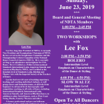 Meeting of NDTA Board & Members with TWO WORKSHOPS BY LEE FOX – Sunday, June 23, 2019
