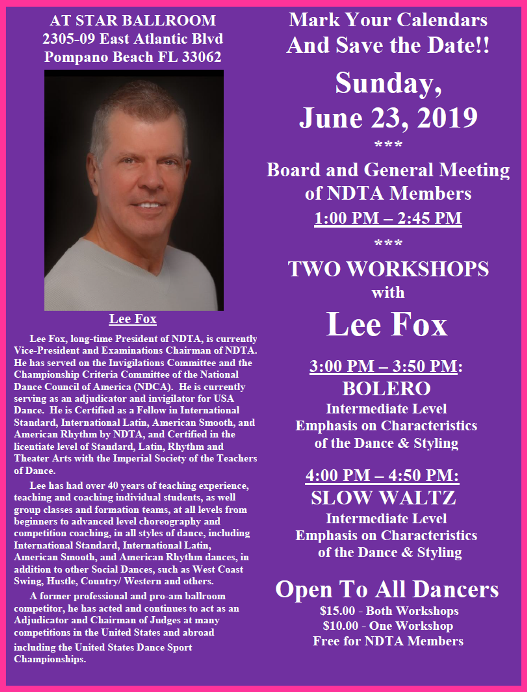 June 23, 2019 NDTA Meeting with Two Workshops by Lee Fox!
