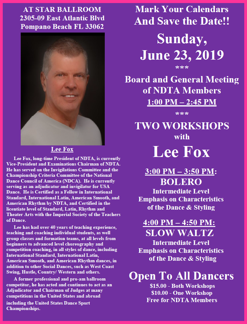 June 23, 2019 NDTA Meeting with Two Workshops by Lee Fox