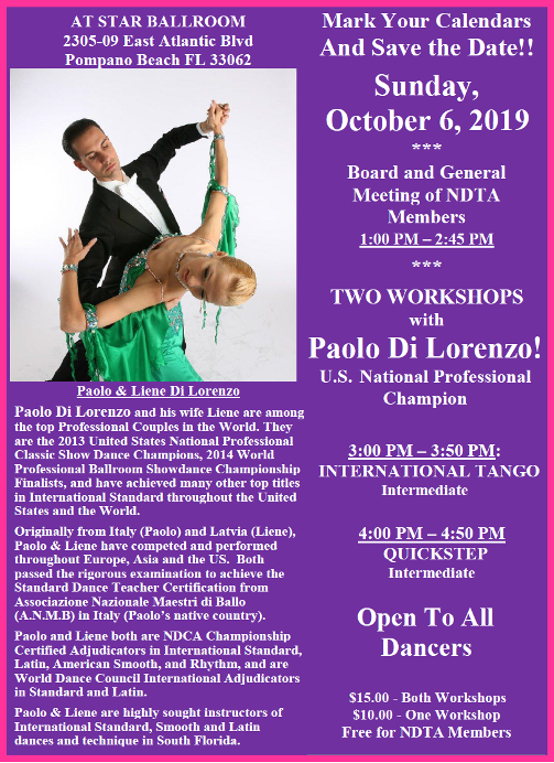 Reminder: Meeting of NDTA Board & Members with TWO WORKSHOPS BY PAOLO DI LORENZO!! – Sunday, October 6, 2019