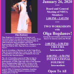 Reminder: Meeting of NDTA Board & Members with TWO WORKSHOPS BY OLGA BOGDANOV!! – Sunday, January 26, 2020