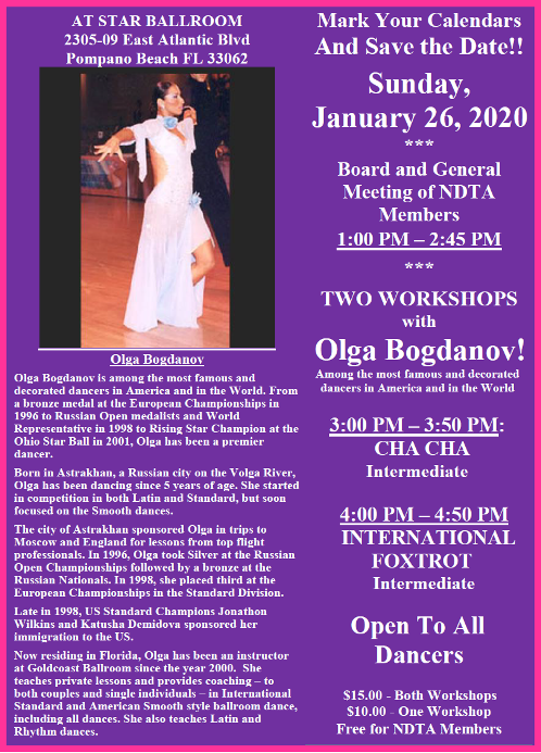 January 26, 2020 NDTA Meeting & Workshops with Olga Bogdanov