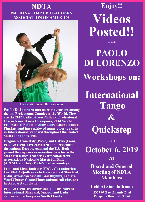 Videos Posted!! – PAOLO DI LORENZO INTERNATIONAL TANGO & QUICKSTEP WORKSHOPS – NDTA Meeting, October 6, 2019