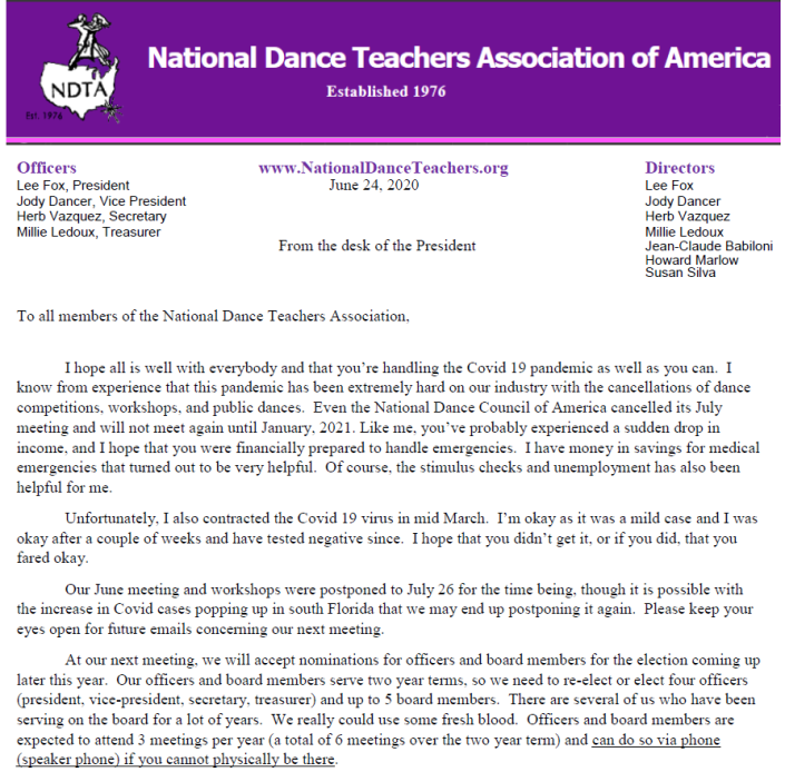 Letter from Lee Fox, President of NDTA – June 24, 2020