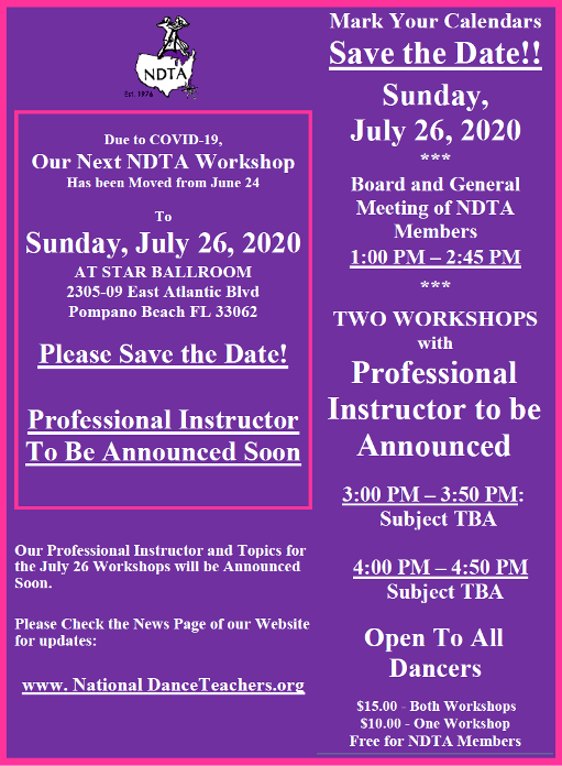 Save the Date: Meeting of NDTA Board & Members with TWO WORKSHOPS – Sunday, July 26, 2020