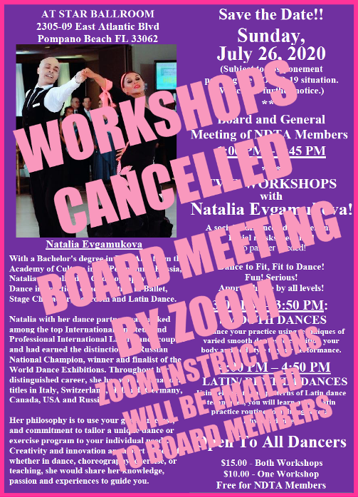 Further Update: July 26, 2020 NDTA Workshops & Members Meeting CANCELLED Due to COVID-19.   Board Meeting Only by ZOOM, Starting at 1:00 pm July 26