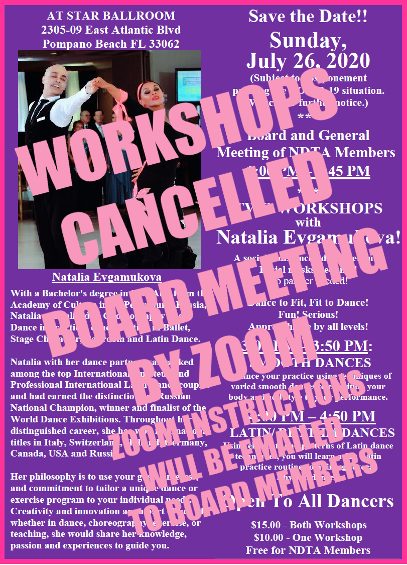 July 20, 2020 WORKSHOPS CANCELLED - Board Meeting Only by Zoom